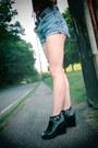 Sky-blue-denim-cut-off-thrifted-shorts-black-studded-wholesale-dressnet-wedges