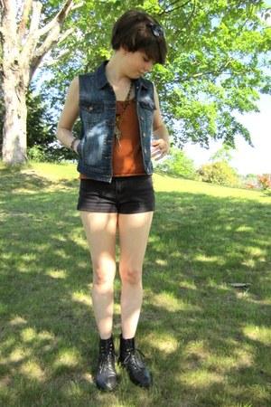 black leather etsy vintage boots - black jordache DIY shorts - navy denim f21 ve