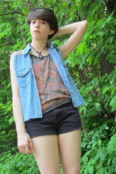 black faux leather etsy vintage boots - black denim-cotton DIY shorts - sky blue