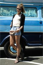 blue vintage shorts - beige Nasty Gal shirt - silver Deena & Ozzy shoes - red vi