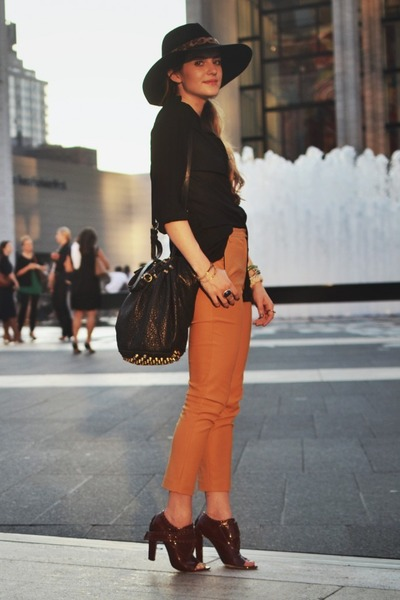 mustard Topshop pants - brick red Alexander Wang shoes - black Bebe hat 2df983da9c56