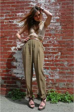 beige free people top - Zara pants - Zara belt - Elie Tahari shoes - vintage acc