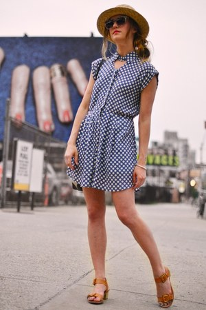 tan H&M hat - blue asos dress - violet Elizabeth and James sunglasses