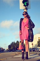 hot pink acne dress - dark brown boots Steve Madden shoes