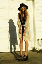 black Jeffrey Campbell shoes - black UnderLigne by DooRi dress - beige LF jacket