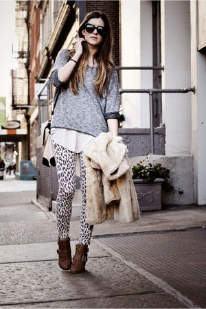 light brown leopard Topshop pants - light brown luluscom shoes