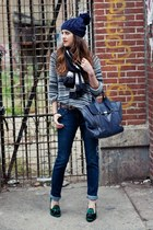 light blue H&M sweater - forest green Tommy Hilfiger shoes - navy James jeans