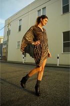 brown Halston Heritage dress - gray Nasty Gal socks - black sam edelman shoes