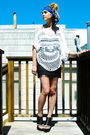 Blue-vintage-scarf-white-nasty-gal-top-black-express-skirt-silver-betsey-j