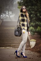yellow plaid Intermix Exclusives blazer - blue pumps Michael Kors shoes