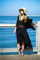 black Mink Pink dress - beige LF hat - gray deena & oddy shoes - brown Zara belt