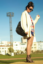 eggshell vintage sweater - black cage sandals Jeffrey Campbell shoes