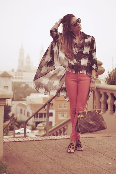 light brown Alexander Wang shoes - dark gray cape LF shirt - dark brown Karen Wa