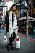 black H&M pants - black Deena & Ozzy shoes - purple Mink Pink jacket - ivory Mar