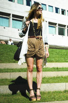 brown Mason Martin Margiela shoes - brown Nasty Gal skirt - gold vintage accesso