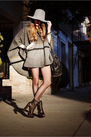 charcoal gray madewell cape - dark brown Steve Madden boots