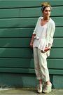 Green-topshop-shoes-beige-zara-pants-pink-lf-shirt-gold-betsey-johnson-ear