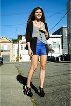 purple vintage shorts - black Pierre Hardy shoes - silver American Apparel shirt