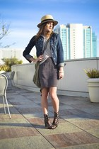 black Jeffrey Campbell shoes - tan straw H&M hat - sky blue jean Forever 21 jack