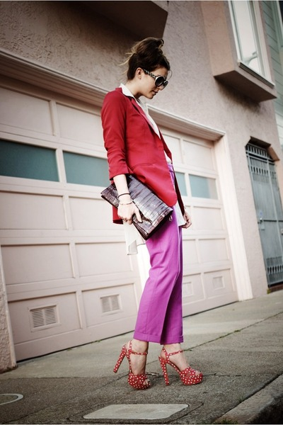 pink Jcrew pants - light orange Miu Miu shoes - red lulus blazer