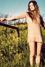 Dark-brown-boots-steve-madden-shoes-light-pink-sequined-mini-vintage-dress