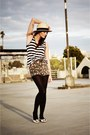 White-flats-prada-shoes-beige-straw-h-m-hat-dark-gray-striped-tank-shirt-o