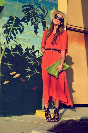 black sandals Jeffrey Campbell shoes - carrot orange Zara dress - tan cowboy Urb