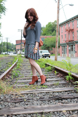 dark brown H&M boots - floral dress - charcoal gray f21 shirt