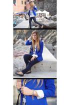 blue Zara blazer - navy silvian heach jeans - white Pimkie t-shirt