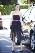 black H&M bag - white romwe sunglasses - bubble gum H&M belt - black tezenis top