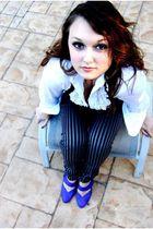 purple Alice & Olivia shirt - gray H&M pants - white Max Studio top - black H&M