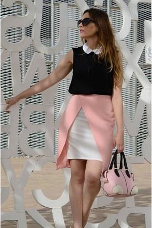 light pink kling skirt - black Zara blouse