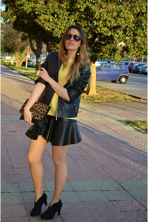 yellow Zara shirt - black Marypaz boots - black Zara jacket - black Zara skirt