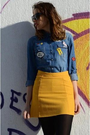yellow suiteblanco skirt - navy Stradivarius shirt