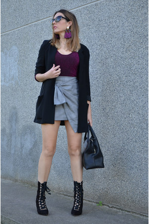 heather gray zaful skirt - black zaful boots
