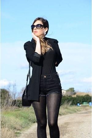 black Mango blazer - black Bershka shorts - black suiteblanco top