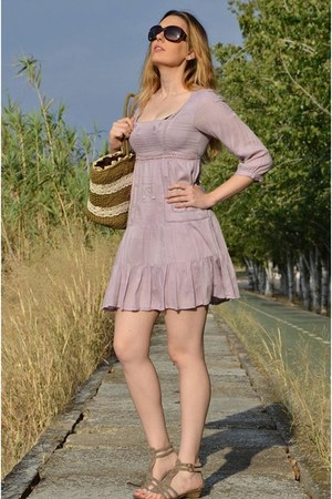 brown BLANCO bag - periwinkle Stradivarius dress - light brown Ulanka sandals