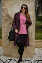 deep purple Mango coat - bubble gum Zara sweater - black Calzedonia socks
