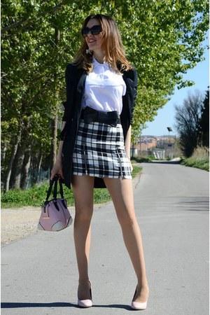 black Zara skirt - black suiteblanco jacket - off white Zara shirt