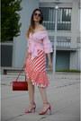 Light-pink-sammydress-shirt-red-zaful-skirt