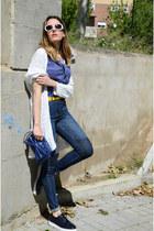 navy suiteblanco jeans - ivory Bershka cape - navy Zara flats