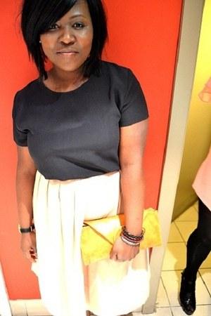 mustard Primark bag - navy vintage top - ivory vintage skirt - black Ebay clogs