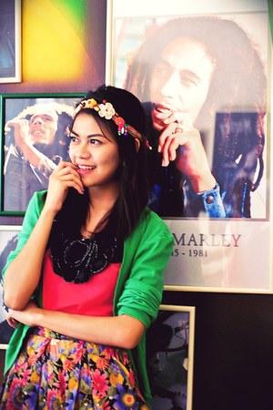 Mango cardigan - sheer bangkok top - vintage skirt