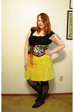 chartreuse asos skirt - black Etsy belt