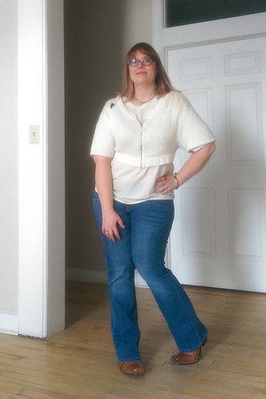 off white Anthropologie sweater - brown Fluevog boots - blue pure energy jeans