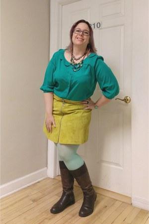 yellow asos skirt - green modcloth shirt