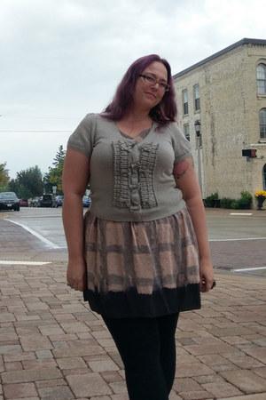 peach Anthropologie dress - silver Anthropologie sweater