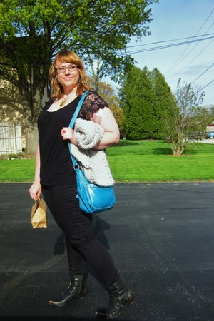teal St Johns Bay purse - black Fluevog boots - silver Anthropologie sweater