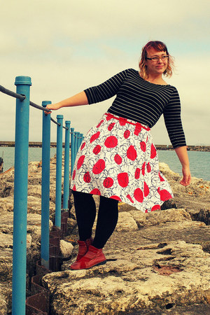 red polka dot skirt - ruby red patchwork Spring Step boots