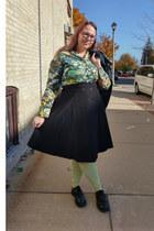green vintage blouse - forest green Fluevog shoes - lime green sockdreams socks
